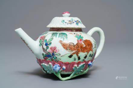 A Chinese famille rose lotus-moulded teapot and cover, Yongzheng