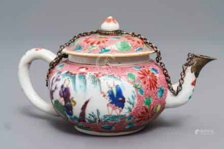 A Chinese famille rose silver-mounted teapot and cover, Yongzheng