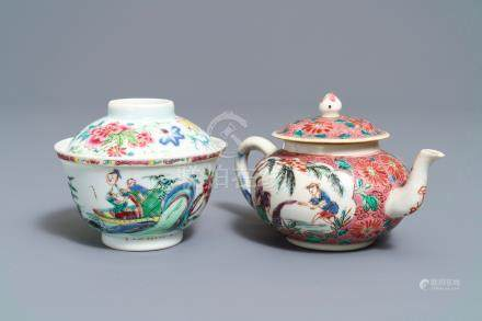 A Chinese famille rose covered bowl and a teapot, Yongzheng