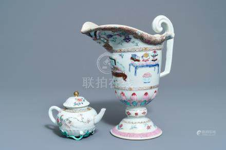 A Chinese famille rose helmet-shaped jug and a relief-decorated teapot, Yongzheng