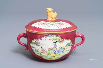 A Chinese famille rose ruby-ground two-handled bowl and cover, Yongzheng