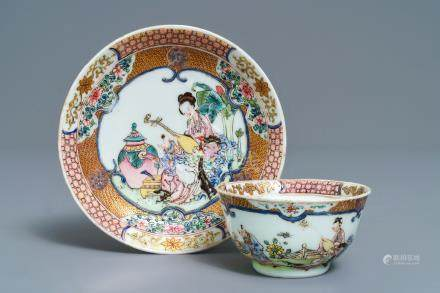 A fine Chinese famille rose cup and saucer with a musician, Yongzheng