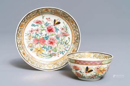 A fine Chinese famille rose cup and saucer with floral design, Yongzheng
