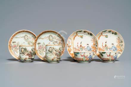 Two pairs of fine Chinese famille rose cups and saucers, Yongzheng/Qianlong