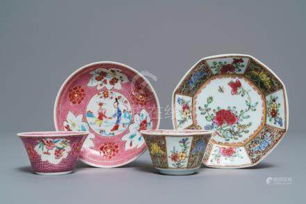 Two Chinese famille rose cups and saucers, Yongzheng/Qianlong