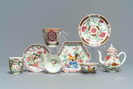 A fine collection of Chinese famille rose tea wares, Yongzheng/Qianlong