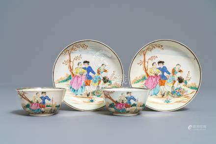 Two fine Chinese famille rose 'European subject' cups and saucers, Qianlong