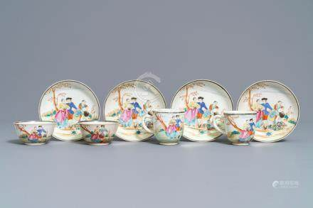 Four fine Chinese famille rose 'European subject' cups and saucers, Qianlong