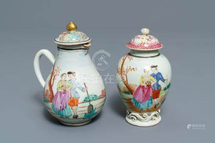 A fine Chinese famille rose 'European subject' milk jug and tea caddy, Qianlong