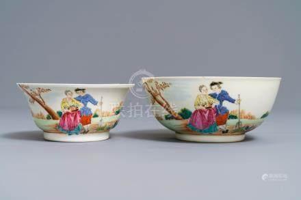 Two fine Chinese famille rose 'European subject' bowls, Qianlong