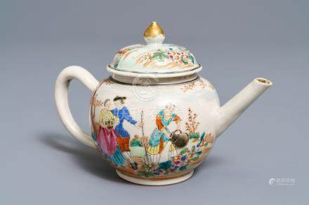 A fine Chinese famille rose 'European subject' teapot and cover, Qianlong