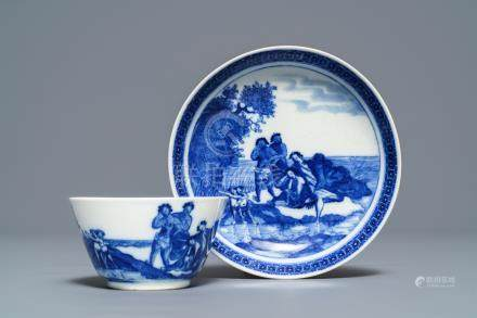 A Chinese blue and white 'soft paste' cup and saucer with an unusual scene with slaves, Qianlong