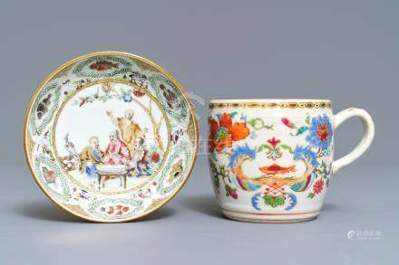 A Chinese famille rose 'Pompadour' mustard jar and a Pronk 'Doctor's visit' saucer, Qianlong