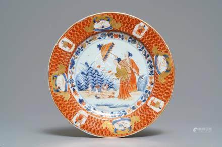 "A Chinese Imari-style plate after Cornelis Pronk: ""Dames au Parasol"", Qianlong, ca. 1736-1738"