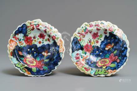 A pair of Chinese famille rose 'Tobacco leaf' salts, Qianlong