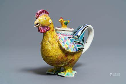 A Chinese famille rose cockerel wine pot and cover, Qianlong