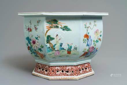 A fine hexagonal Chinese famille rose jardinière, Qianlong