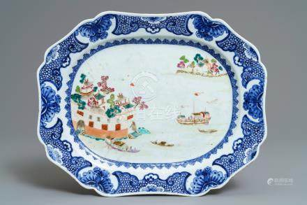 An octagonal Chinese famille rose 'Fort Folly' dish, Qianlong