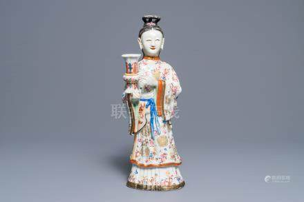 A large Chinese famille rose candle holder modelled as court lady, Qianlong