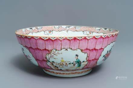 A large Chinese famille rose 'lotus' bowl with mandarin design, Qianlong