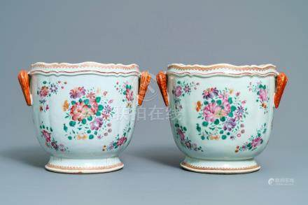 A pair of Chinese famille rose coolers, Qianlong