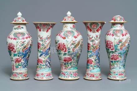 A Chinese famille rose five-piece garniture with birds among blossoms, Qianlong