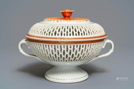 A reticulated Chinese export chestnut bowl and cover, Qianlong