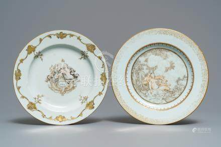 Two Chinese grisaille and gilt 'mythological subject' plates, Qianlong