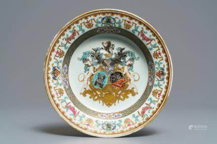 A fine Chinese Belgian market armorial plate of Bistrate impaling Proli, Qianlong, ca. 1736