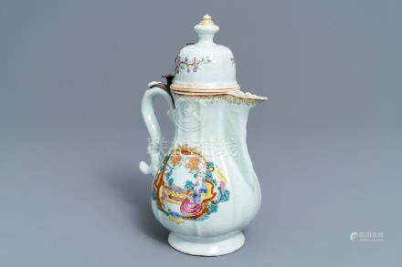 A Chinese silver-mounted famille rose coffee jug, Qianlong