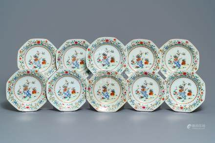 Ten deep octagonal Chinese famille rose 'rooster' plates, Qianlong