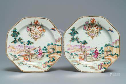 A pair of octagonal Chinese famille rose English market armorial plates, Qianlong