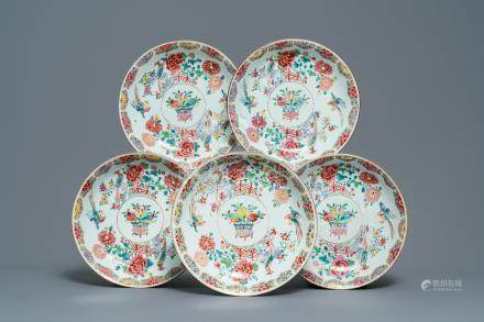 Five Chinese famille rose dishes with flowers and pheasants, Qianlong