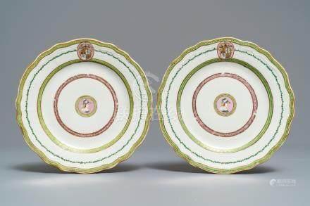 A pair of Chinese Danish market Peter van Hemert armorial plates, Qianlong