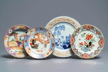 Four Chinese famille rose and Imari-style plates, Qianlong