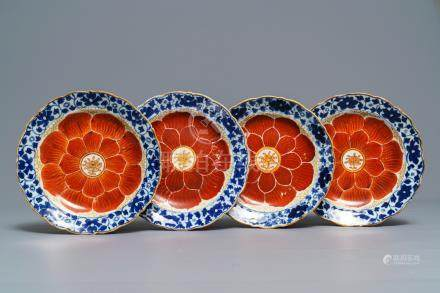 Four Chinese blue, white and iron red 'lotus' plates, Qianlong/Jiaqing