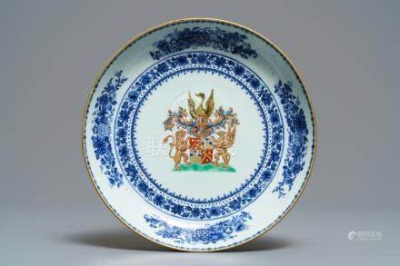 A Chinese blue, white and polychrome armorial plate for the Dutch market, Qianlong