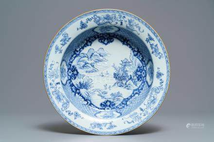 A Chinese blue and white 'river landscape' basin, Qianlong