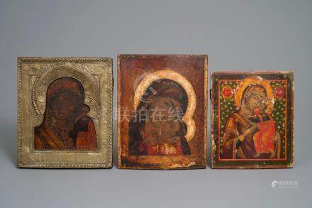 Three Russian icons: 'Mother of God' or 'Theotokos', 19th C.