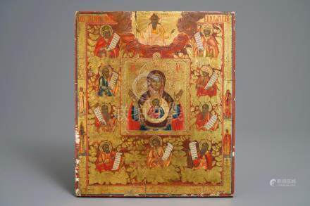 A Russian icon: 'Mary surrounded by the apostles', 19th C.