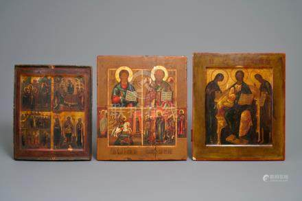 Three Russian icons, 18/19th C.
