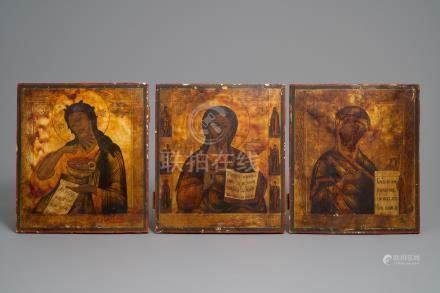 Three Russian icons: 'Mother of God', 'Pantocrator' and 'Saint-John the Baptist', 19th C.