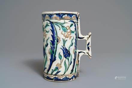 A polychrome Iznik tankard, Turkey, 17th C.