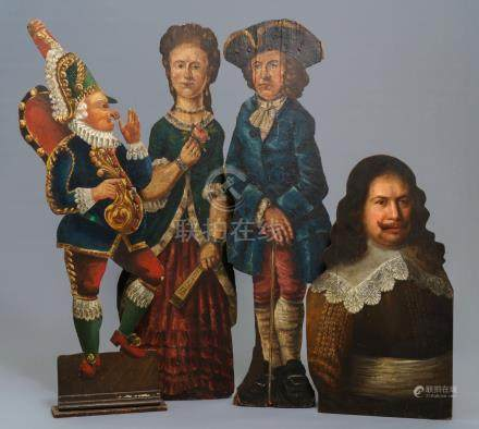 Four Dutch polychrome painted wood dummy boards, 18th C.