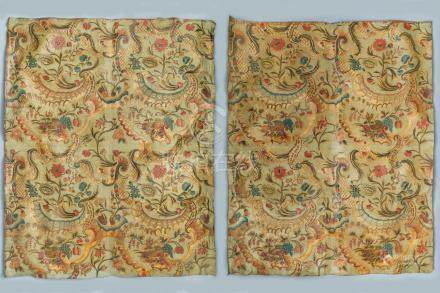 Two panels of embossed and gilded leather wallpaper, The Low Countries, 18th C.