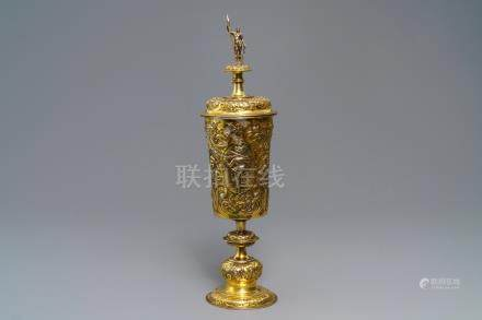 A German or Moravian silver-gilt cup and cover, 19th C. or earlier