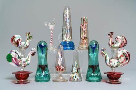 Nine glass paperweights, France, 18/19th C.