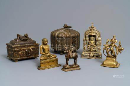 Four Indian Gujarat bronze votive figures and two covered boxes, 16th C. and later