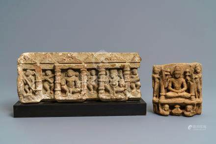 Two red sandstone architectural fragments, Central-India, 10/14th C.