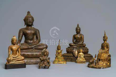 Seven bronze figures of Buddha, China, Thailand, Nepal and Tibet, 18th C. and later